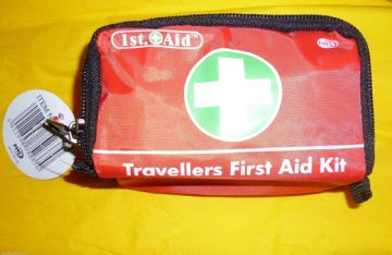 FIRST AID KIT IN RED PMS TRAVEL HOLIDAY  MEDICAL 30 PIECES  EVENT CAMPING